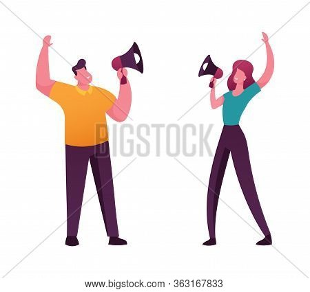 Online Public Relations And Affairs Concept. Man And Woman Characters Shouting To Megaphone Or Louds