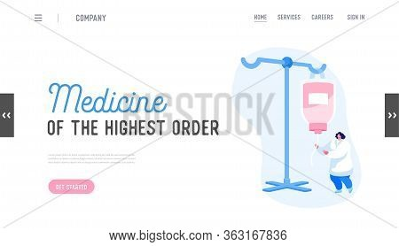 Emergency Help, Detoxification Landing Page Template. Nurse Female Character Set Up Dropper With Med