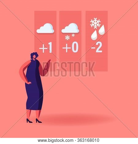 Television Anchorwoman Character At Studio Forecast Weather During Live Broadcasting. Woman Meteorol