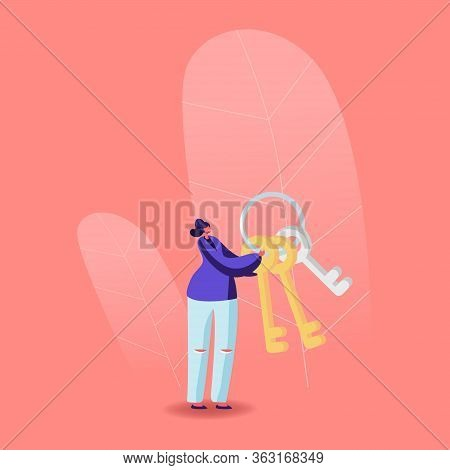 Female Character Holding Bunch Of Keys Solving Escape Room Enigma Or Leaving Apartment During Corona