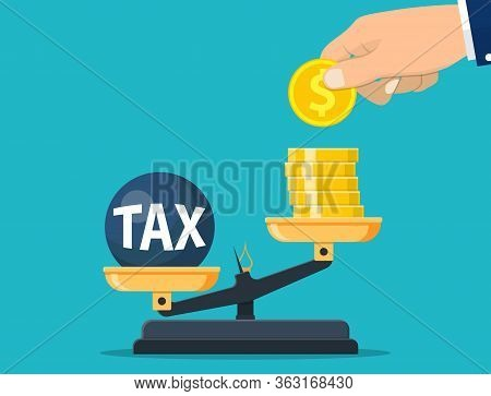 Businessman Hand Use Coins. Scales Imbalance With Metal Tax Weight Ball And Cash Money. Tax Burden C