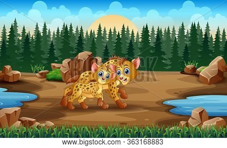 Cartoon Adult Hyena And Cub Hyena In The Zoo