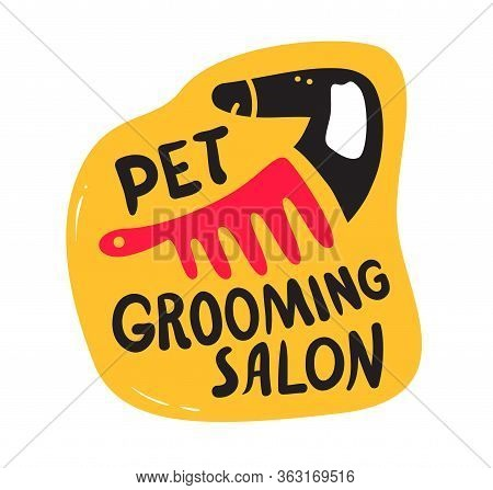 Pets Grooming Salon Banner, Haircut Service For Dogs And Cats. Cute Black Puppy With Body Comb And C