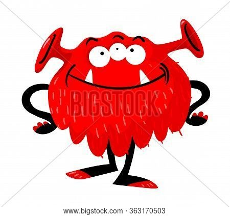 Cute Monster With Funny Smiling Face, Three Eyes, Long Ears, Toothy Mouth And Arms Akimbo. Red Alien