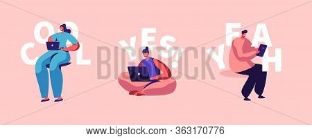 Freelance Self-employed Occupation Set. Relaxed Man And Women Freelancer Characters Working Distant