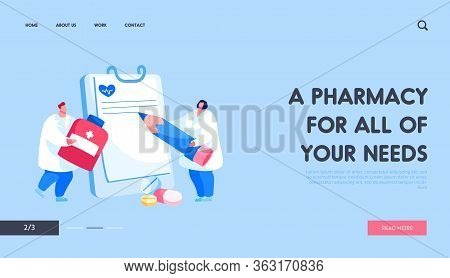 Pharmacy, Health Care Landing Page Template. Doctor Character Carry Huge Medicine Pill For Illness P