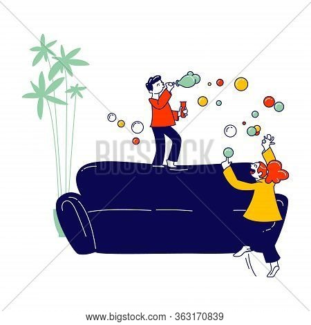 Kids Fooling Game. Naughty Hyperactive Children Characters Playing At Home, Little Girl And Boy Blow