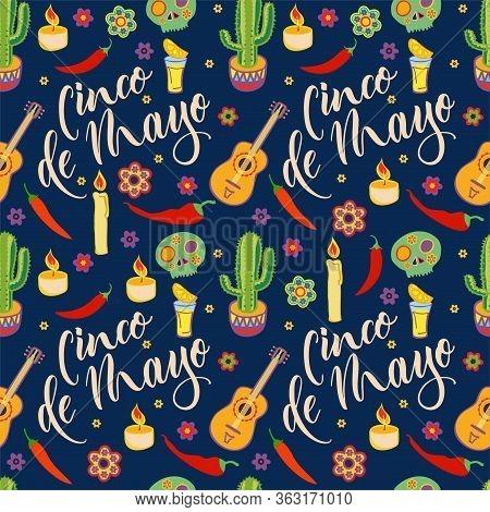 Cinco De Mayo Seamless Pattern. Viva Mexico. Mexican Culture Symbols. Sombrero, Maracas, Cactus And