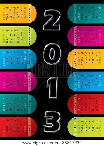 2013 Calendar On Dark Background