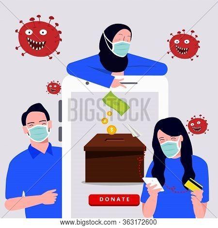 Donation For Corona Virus Covid-19 Using Smart Phone Online Charity Illustration
