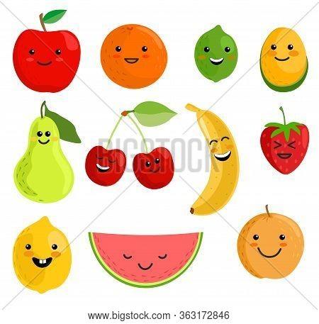 Cute Fruit Characters Vector Illustration, Healthy Juice Cartoon Kawaii Summer Fruits Isolated On Wh