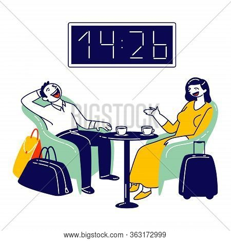 Businesswoman And Businessman Characters Sitting At Airport Business Lounge Wait For Flight. Cheerfu