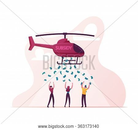 Subsidy, Governmental Help To People. Male And Female Characters Catching Dollar Bill Falling From H