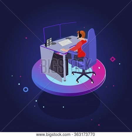 Gamer Play In Computer Game. Illustration Gaming Pc, Play Video Console Abd Vector Controller With C