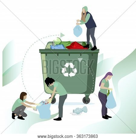 People Collect And Recycle Garbage. Vector Recycle Waste Plastic, Illustration Of Ecology Cleaning,
