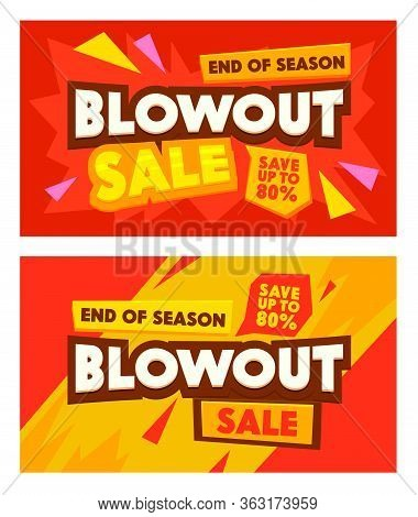 Set Advertising Banners With Blowout Sale Typography. Abstract Background, Social Media Promo Brandi