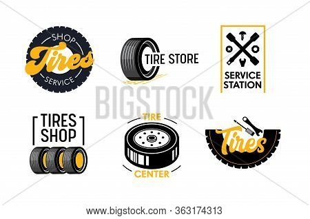 Tires Shop And Services Icons Set. Poster With Car Tyre And Creative Typography. Vehicle Equipment A