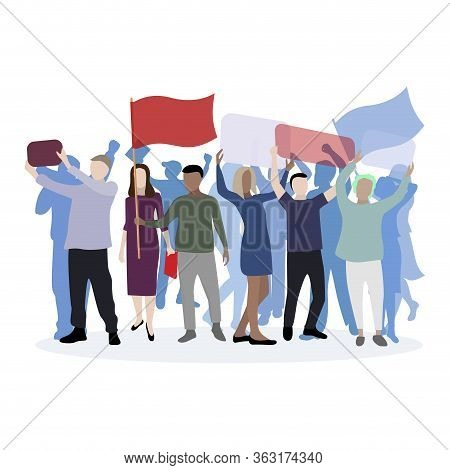 Political March Supporting Their Candidate. Demonstration And Rally, Character Social Male And Woman