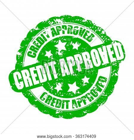 Credit Approved, Bank Approval Stamp. Vector Credit Pre-approved Accepted, Mortgage Or Money Cash, B