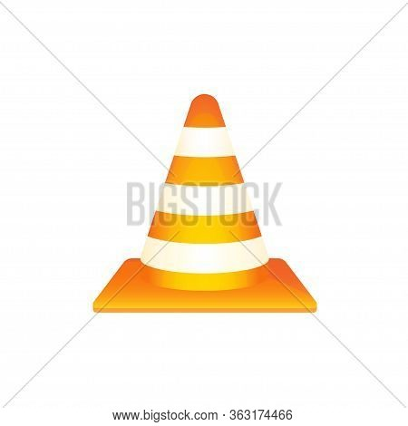 Road Cone Vector Isolated Illustration. Traffic Roadwork Warning Equipment