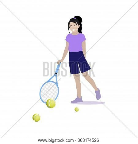 Girl Play Tennis Isolated On White. Girl Playing With Racquet And Ball Tennis, Illustration Athlete