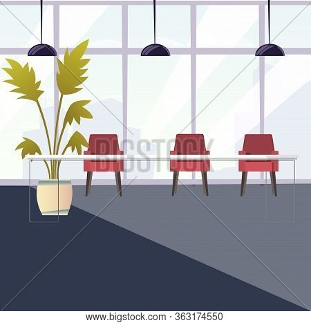 Empty Office, Work Place, Coworking Space. Office Empty Workplace With Table And Chair, Workspace In