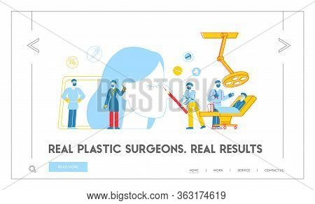 Rhinoplasty Correction Procedure, Surgical Nasal Improvement Landing Page Template. Plastic Surgeon
