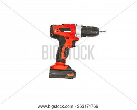 Red Electric Drill Isolated On White Background