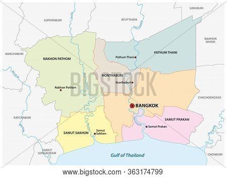 Administrative Vector Map Of Bangkok Metropolitan Area, Thailand
