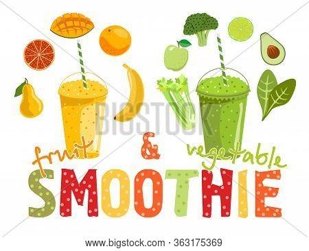 Fruit And Vegetable Smoothies. Cartoon Smoothies. Orange, Strawberry, Berry, Banana And Avocado Smoo