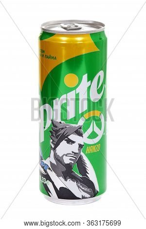 Novyy Urengoy, Russia - April 25, 2020: Aluminium Can Of The Sprite Lemon And Lime Overwatch Edition