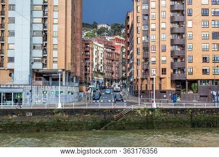Bilbao, Spain - January 27, 2019: Buildings Over Estuary Of Bilbao In Bilbao City In Province Of Bis