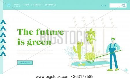 Gardener Worker Landing Page Template. Or Botanist Scientist Character Catch Floating Lotus Flowers