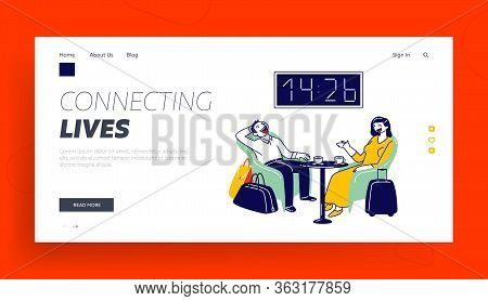 Cheerful Man And Woman Sitting On Armchairs With Coffee In Waiting Area Landing Page Template. Chara