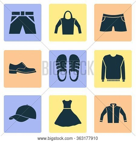 Clothes Icons Set With Pullover, Male Footwear, Jacket And Other Sweatshirt Elements. Isolated Vecto