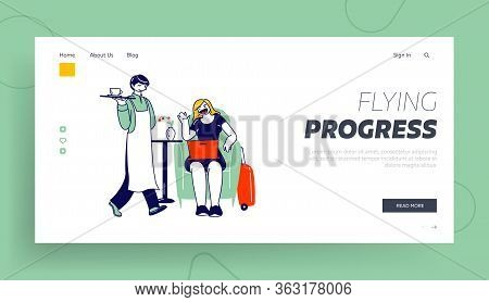 Female Character Sitting In Business Lounge In Airport Waiting Airplane Boarding Landing Page Templa