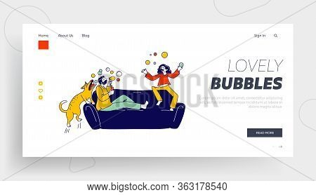 Father And Daughter Playing Landing Page Template. Happy Family Characters Blowing Soap Bubbles At C