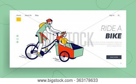 Healthy Lifestyle, Eco Transportation, Family Spare Time Landing Page Template. Woman With Child Cha