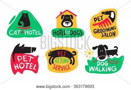 Pets Hotel, Cats And Dogs Grooming, Sitting And Walking Service Icons Or Banners Set. Hospitality Fo