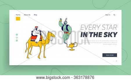 Arabian Fairytale, Fantasy Story Telling Landing Page Template. Arabic Bedouin Character Riding On C