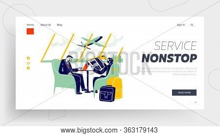 Businessmen Characters At Airport Business Lounge Wait Flight Landing Page Template. Men Sitting On