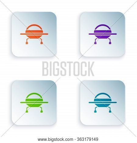 Color Ufo Flying Spaceship Icon Isolated On White Background. Flying Saucer. Alien Space Ship. Futur