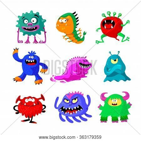 Cute Cartoon Monsters Set. Comic Halloween Joyful Characters, Funny Devil, Ugly Alien And Smile Crea