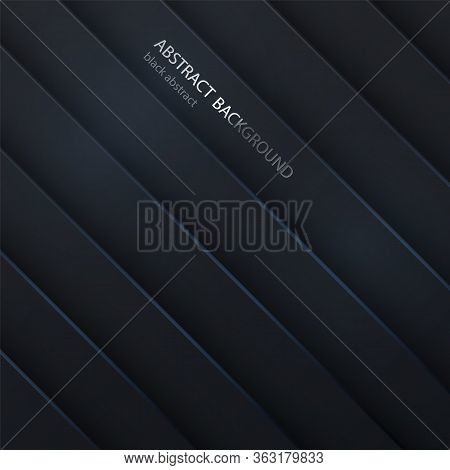 Black Background Textured With Paper 3d Shapes. Abstract Dark Background. Geometric Shape Concept.