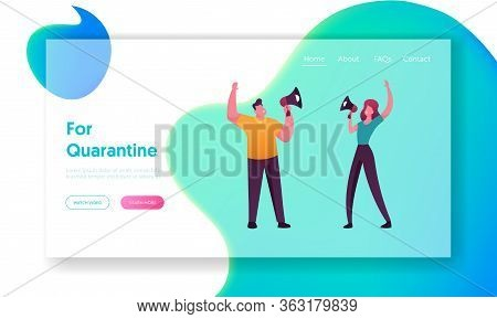 Online Public Relations And Affairs Landing Page Template. Characters Shouting To Megaphone Or Louds