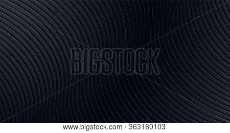Black Background. Black Vector Texture. Abstract Black Vector Background With Stripes