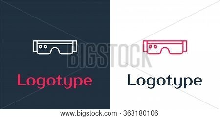 Logotype Line Smart Glasses Mounted On Spectacles Icon Isolated On White Background. Wearable Electr