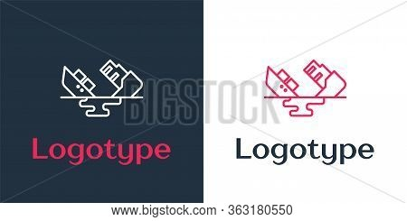 Logotype Line Wrecked Oil Tanker Ship Icon Isolated On White Background. Oil Spill Accident. Crash T