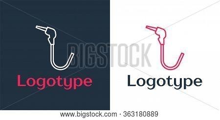 Logotype Line Gasoline Pump Nozzle Icon Isolated On White Background. Fuel Pump Petrol Station. Refu
