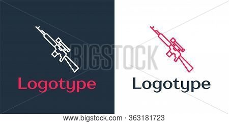 Logotype Line Sniper Rifle With Scope Icon Isolated On White Background. Logo Design Template Elemen